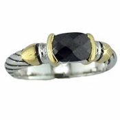 Silver with Black Stones Designer Ring 4082