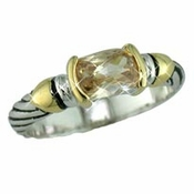 Silver with Champagne Stones Designer Ring 4082