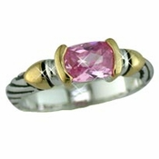 Antique Silver Pink Stones Designer Ring 4082