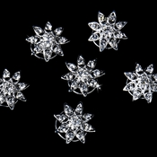 24 Exquisite Silver Clear Starburst Twist-Ins 0167