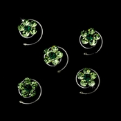 12 Delightful Silver Light Green & Green Rhinestone Flower Twist-Ins 01
