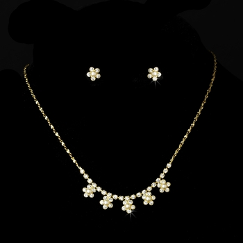 * Necklace Earring Set 118 Gold Ivory