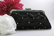 Black Satin Bridal Evening Bag EB 303