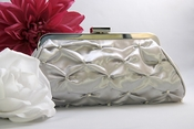 Silver Satin Bridal Evening Bag EB 303