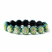 Glistening Four Tone Green Crystal Stretch Bracelet 8543