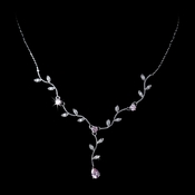 Lovely Silver Pink CZ Vine & Leaf Necklace 3403