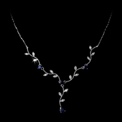 Lovely Silver Blue CZ Vine & Leaf Necklace 3403