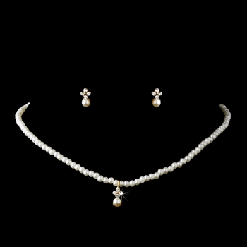 * Children's Necklace Earring Set C 4814 Gold Ivory