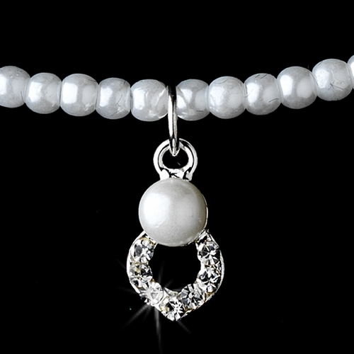 Child's Flowergirl Silver & White Pearl & Rhinestone Necklace Set NE 404