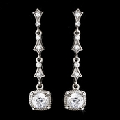 Silver & Clear Crystal Drop Earrings E 946