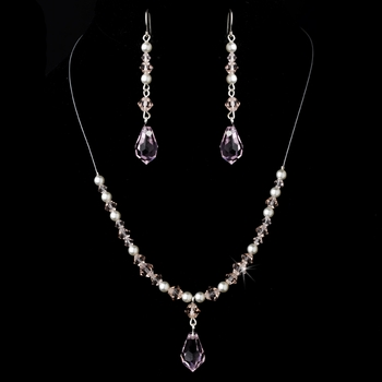 Necklace Earring Set NE 8354 Pink