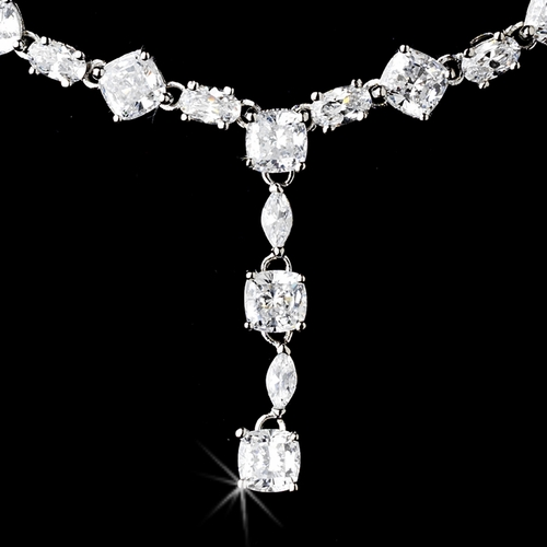 Necklace Earring Set 51022 Silver Clear