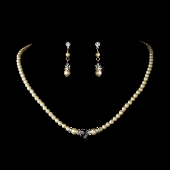 Necklace Earring Set N 8368 E 8370 Silver Ivory