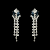 Navy Rhinestone Clip On Bridal Earring E 20009