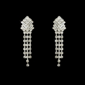 Silver Clear Crystal Dangle Clip On Earrings E 20009
