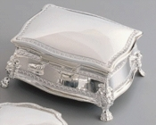 Silver Plated Square Victorian Jewelry Box 22023