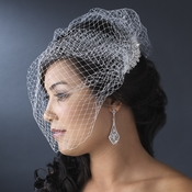 Flower Rhinestone & Pearl Comb with Single Layer French Face Veil Blusher 8121