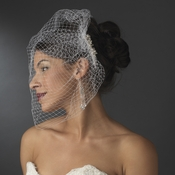 Ivory Pearl Covered Comb with Attached Russian Tulle Blusher Veil in Gold Comb 8933
