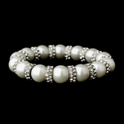 Wonderful Silver Clear Rhinestone & White Pearl Stretch Bracelet 8478