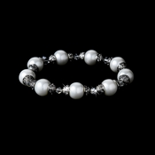 Beautiful Silver Ivory Pearl Bridal Bracelet B 922
