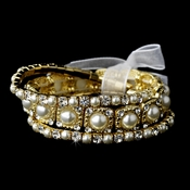 Delightful Triple Strand Gold Pearl Stretch Bracelet Set 8458