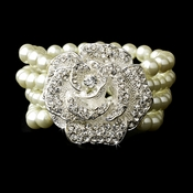 Bracelet 8455 Silver Light Ivory Pearl Stretch