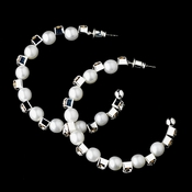 * Silver White Clear Earring Set 8549