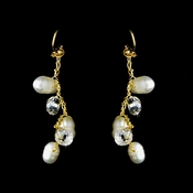 Gold Silk White Pearl Clear Crystal Earring Set 7829