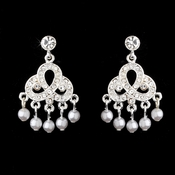 Silver & White Pearl Bridal Earrings E 499 Chandelier