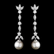 Stylish Antique Silver Clear CZ Earrings w/ Ivory Pearls 3856