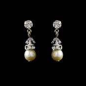 Silver and Ivory Pearl  Bridal Earrings E 212