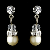 Precious Ivory Pearl & Crystal Dangle Earring in Silver 216