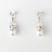 Precious White Pearl & Crystal Dangle Earring in Silver 216 * 1 Clip *