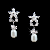 Stunning Silver Clear CZ Flower Earrings w/ Pearl Drop 3548