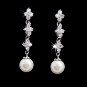 Beautiful Silver Clear CZ Earrings w/ Pearl Drop 3093