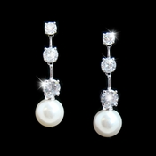* Charming Silver Clear CZ Bridal Earrings w/ Pearl Drop 3956