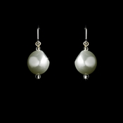 Pearl dangle leverback Earring 8325 White (1 pair left)
