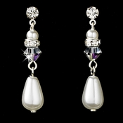 Silver White Pearl Earrings 8151 AB