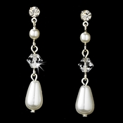 Elegant Silver Clear Crystal & Rhinestone Dangle Earrings w/ White Pearls Earring 8146