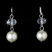 Dangling Swarovski Crystal & Faux Pearl Earring 8362 (Ivory or White)