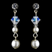 Earring 8365 Silver White AB