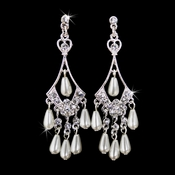 Beautiful Silver Diamond White Chandelier Earrings E 8446