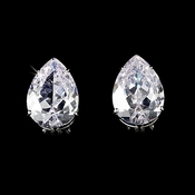 Stunning Large Teardrop French Clip Pierced Cubic Zirconium Earrings E 5335