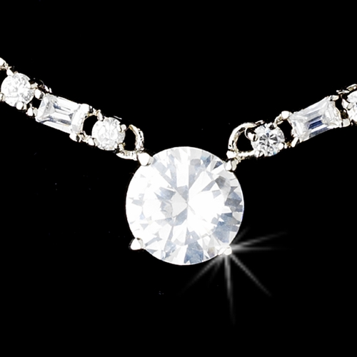 Necklace Earring Set 51067 Silver Clear