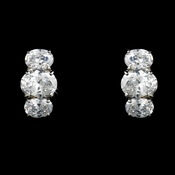 Fabulous Silver Clear CZ Stud Earrings 3542