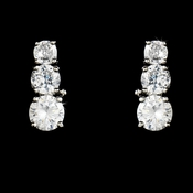 Dazzling Triple Silver Clear CZ Earrings 3679