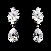 Antique Silver Clear Cubic Zirconia Earrings 7510 ( Pierced or Clip On )
