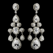 """Miss Universe 2012"" Silver Clear Marquise & Oval CZ Stone Drop Earrings 8781**Discontinued**"
