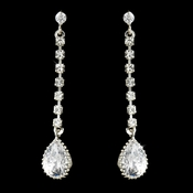 Silver Crystal CZ Drop Earrings E 25122