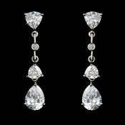 Silver Cubic Zirconia Drop Earrings E3609